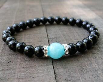 tourmaline amazonite mala stretch chakra  wrist mala chakra  energy  power beads meditation beads yoga