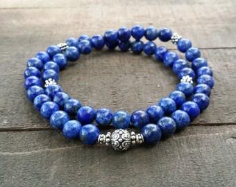lapis lazuli chakra yoga  stretch   energy  wrist mala lotus  spring natural gemstones chakra