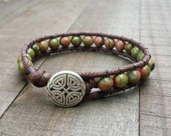 Unakite vegan wrap  single wrap chakra  eternal celtic knot button dark brown cotton cord boho  earthy