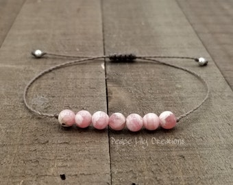 Rhodochrosite string bracelet healing bracelet minimalist jewelry chakra bracelet yoga jewelry energy bracelet