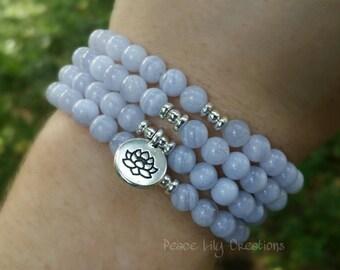Blue lace agate 108 mala necklace stretch wrap bracelet gemstone wrap lotus bracelet yoga energy bracelet healing jewelry
