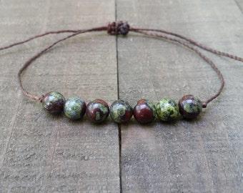 Dragon blood jasper string bracelet healing bracelet minimalist jewelry chakra bracelet yoga jewelry energy bracelet