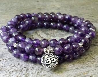 amethyst 108 mala necklace stretch wrap bracelet gemstone wrap lotus bracelet pink rose quartz yoga energy bracelet