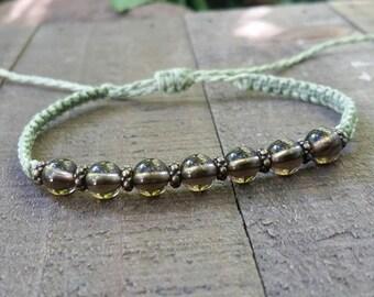 Smoky quartz macrame bracelet healing bracelet yogo bracelet boho bracelet stacking bracelet waterproof bracelet chakra balancing