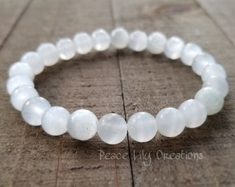 Selenite stretch bracelet - stacking bracelet  - yoga bracelet  - wrist mala  - gemstone jewelry - aa grade selenite - healing bracelet
