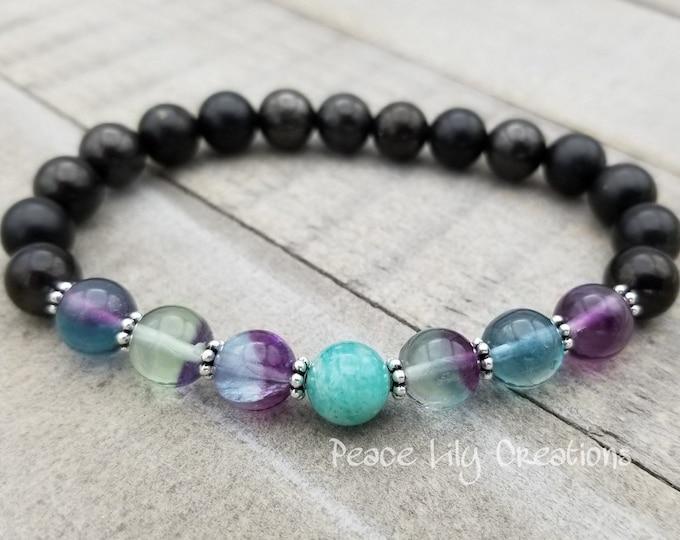 Featured listing image: Shungite fluorite amazonite yogo bracelet stretch chakra  wrist mala energy  power beads meditation yoga