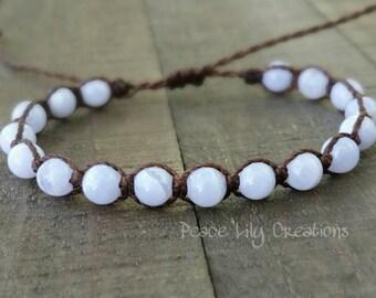 Blue lace agate macrame bracelet healing bracelet yogo bracelet boho bracelet stacking bracelet waterproof bracelet
