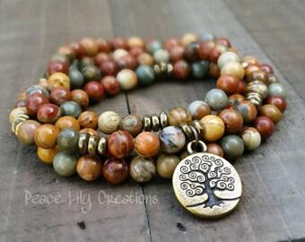 red creek jasper 108 mala necklace stretch wrap bracelet gemstone wrap bracelet yoga energy bracelet meditation beads power beads