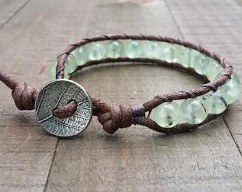 vegan prehnite wrap bracelet beaded boho bracelet chakra earthy gemstone beads leaf button earthy bracelet leather alternative