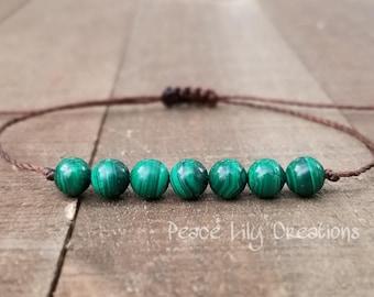 Malachite string bracelet healing bracelet minimalist jewelry chakra bracelet yoga jewelry energy bracelet