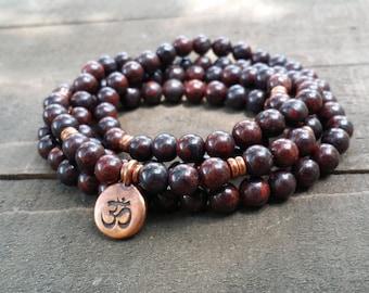 bracciated red jasper 108 mala necklace stretch wrap bracelet gemstone wrap bracelet yoga energy bracelet om bracelet