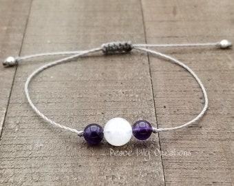 moonstone and amethyst string bracelet healing bracelet minimalist jewelry chakra bracelet yoga jewelry energy bracelet