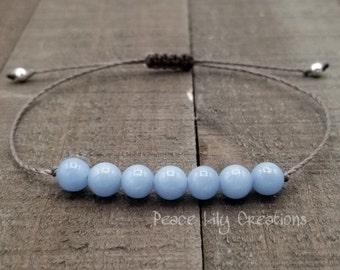 Angelite string bracelet healing bracelet minimalist jewelry chakra bracelet yoga jewelry energy bracelet calming bracelet