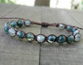 Moss agate macrame bracelet healing bracelet yogo bracelet boho bracelet stacking bracelet waterproof bracelet