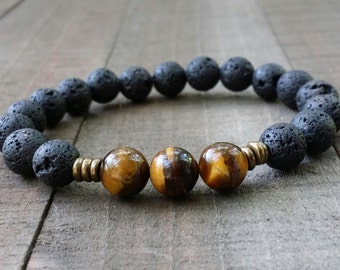 lava rock tiger eye yogo bracelet  mala stretch chakra bracelet wrist mala chakra bracelet energy bracelet power beads meditation