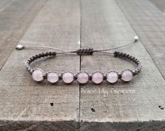 Rose quartz macrame bracelet - healing jewelry  yogo bracelet  stacking  waterproof  chakra balancing