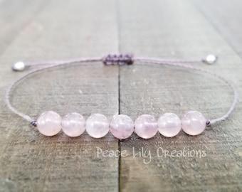 Rose quartz string bracelet healing bracelet minimalist jewelry chakra bracelet yoga jewelry energy bracelet
