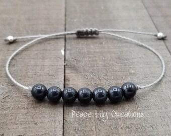 Shungite string bracelet healing bracelet minimalist jewelry chakra bracelet yoga jewelry energy bracelet