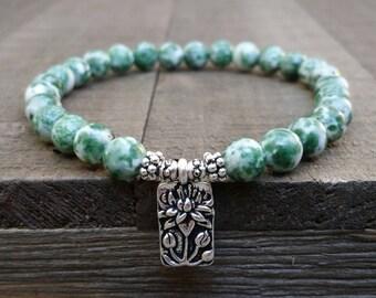 Tree agate stretch chakra bracelet lotus bracelet wrist mala earthy bracelet