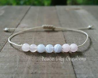 Blue lace agate and rose quartz yoga string  healing  minimalist jewelry chakra  yoga jewelry energy