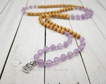 108 mala light amethyst and light sandalwood, buddha necklace,  wrap bracelet,  stretch wrap, nature jewelry, yoga jewelry,  boho jewelry