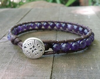 Amethyst vegan wrap bracelet single wrap chakra bracelet celtic knot dark brown cotton cord boho bracelet earthy yoga bracelet