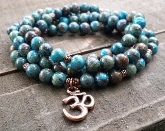 blue sky jasper 108 mala necklace stretch wrap bracelet gemstone wrap bracelet yoga energy bracelet meditation beads power beads