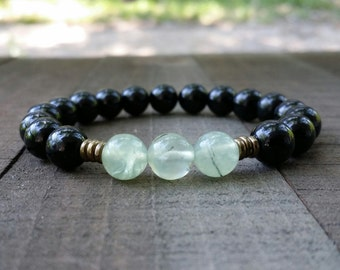tourmaline yogo mala prehnite stretch chakra  wrist mala chakra  energy  power beads meditation beads yoga
