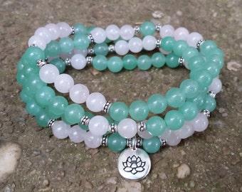 Green aventurine and rose quartz 108 mala necklace stretch wrap  gemstone wrap lotus  pink rose quartz yoga energy