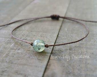 Prehnite string bracelet healing bracelet minimalist jewelry chakra bracelet yoga jewelry energy bracelet