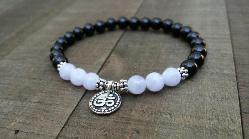 Black tourmaline blue lace agate mala bracelet yoga bracelet energy bracelet wrist mala om bracelet chakra bracelet