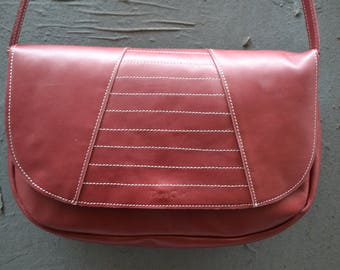 """Jeanne"" red leather bag raspberry"