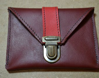 """Coin door card """"Simon"""" in red and Burgundy leather"""