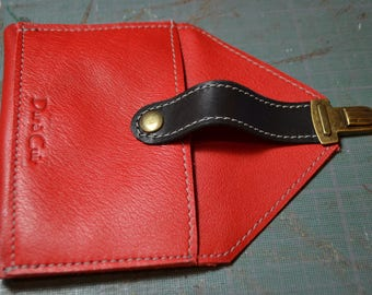"Coin door card ""Simon"" red and black leather"