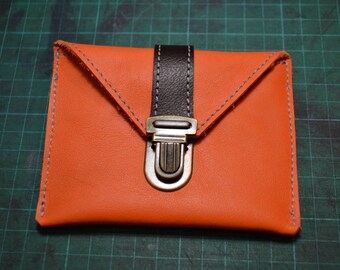 "Coin door card ""Simon"" orange and brown leather"