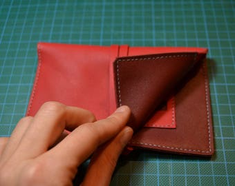 Red and Burgundy leather tobacco pouch