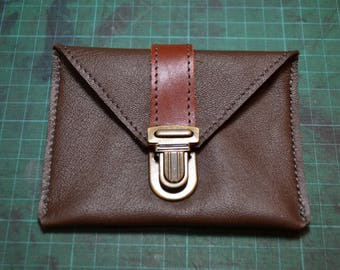 "Coin door card ""Simon"" leather two chestnuts"