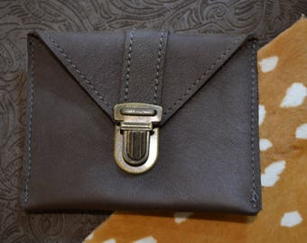 "Coin door card ""Simon"" chocolate brown leather"