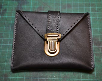 "Coin door card ""Simon"" black leather"