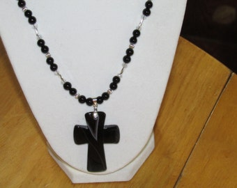 Peachblow Stripes Onyx Agate Cross Focal