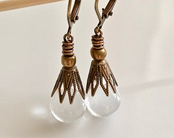 Clear Glass Teardrop Earrings   Boho Earrings
