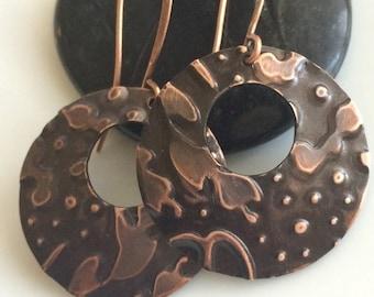 Embossed Copper Earrings  Bohemian Earrings  Antiqued Copper Earrings  Boho Earrings  Gypsy Dangles