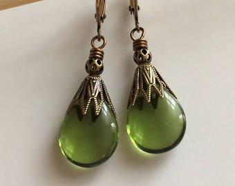 Boho Earrings Dangle  Olive Green Glass Leverback Earrings   Bohemian Earrings