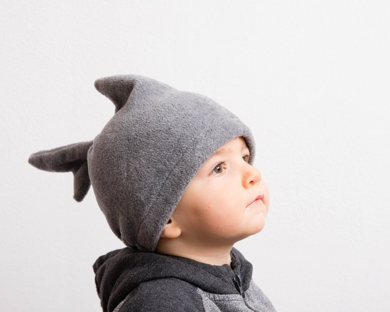 Shark Hat Shark Halloween Costume Shark Fin and Tail Hat for Babies Polar Fleece Gray Hat Toddlers and Children