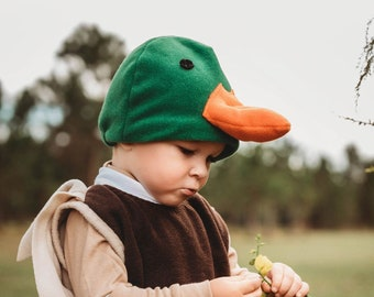 Mallard Duck Hat, Green Duck Hat with Orange Beak, Polar Fleece Hat, Halloween Hat, Winter Fleece Hat