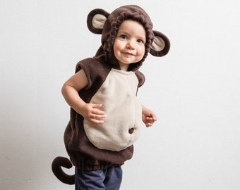 Monkey Costume, Toddlers Halloween Costume, Party Costume in brown and beige, For Boys or Girls, Toddler Costume, Jungle, Baby Halloween