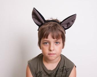 Bat Ears Headband, Bat Costume, Black and Gray Ears Head Band, Children's or Adult's Photo Prop, Pretend Play