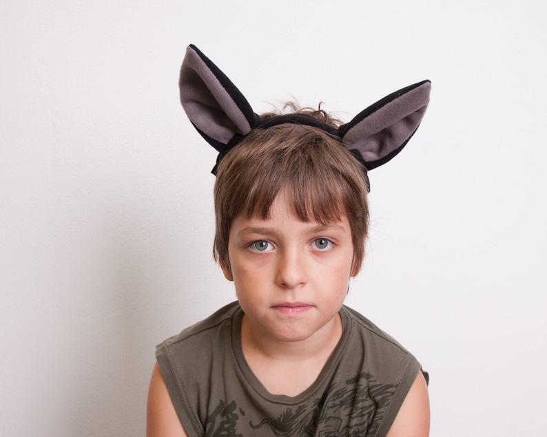 Bat Ears Headband Bat Costume Black and Gray Ears Head Band image 0