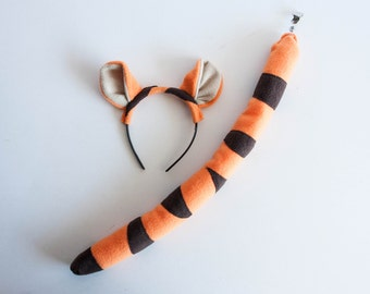 Tiger Ears Headband and Tail, Orange Tiger Costume, Children's or Adult's Photo Prop, Cosplay, Pretend Play, Tigger Winnie–the–Pooh