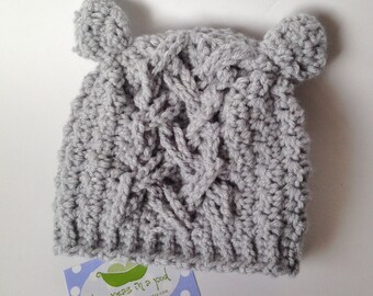 Baby Hat - Crocheted Baby Hat - Boy or Girl Hat - Bear Hat - Crochet Hat - Gray Hat- Baby Bear Hat - Knit Hat